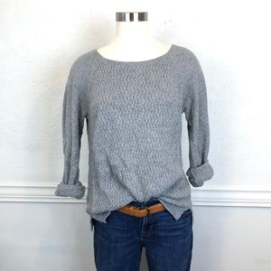 Loft Basic Gray Textured Pull Over Sweater Size M